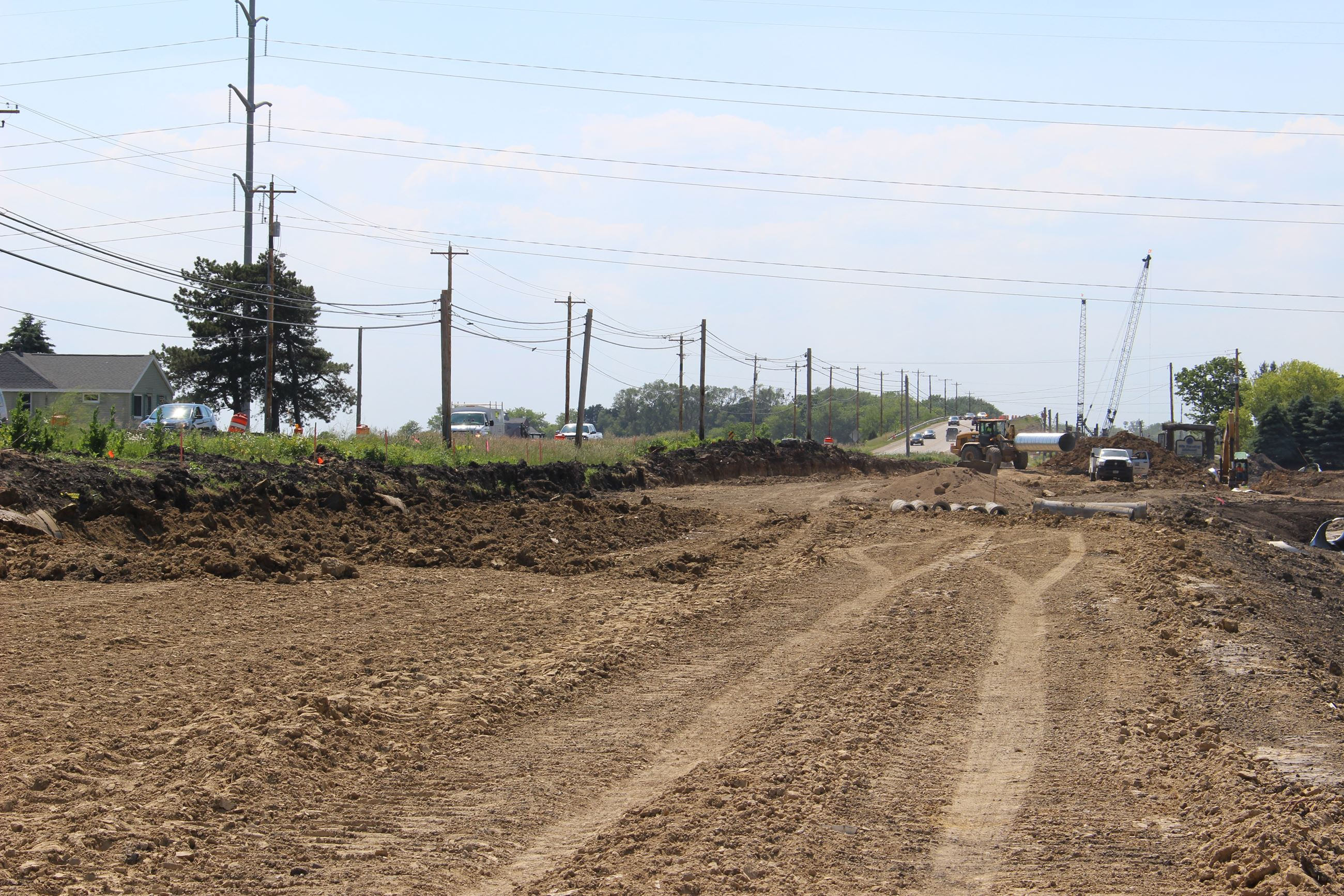 View of the Highway S expansion project looking west from Highway EA