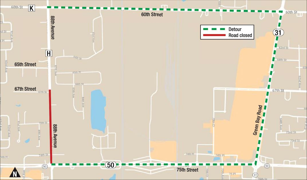 CTH C Water Main detour map