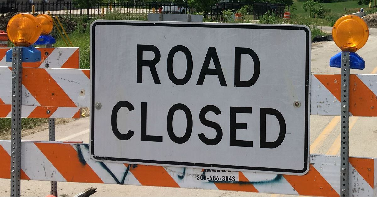 FB LINK road closed sign